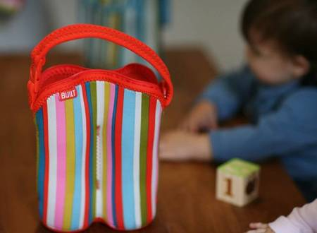BUILT Bottle Buddy - Termoopakowanie do butelek podwójne (Baby Pink Stripe)