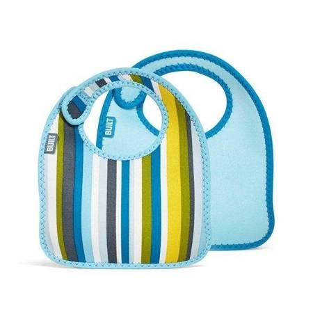 BUILT Mess Mate - 2 śliniaki dla dzieci (Baby Blue Stripe)
