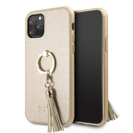 Guess GUHCN58RSSABE iPhone 11 Pro beige/beżowy hard case Saffiano with ring stand