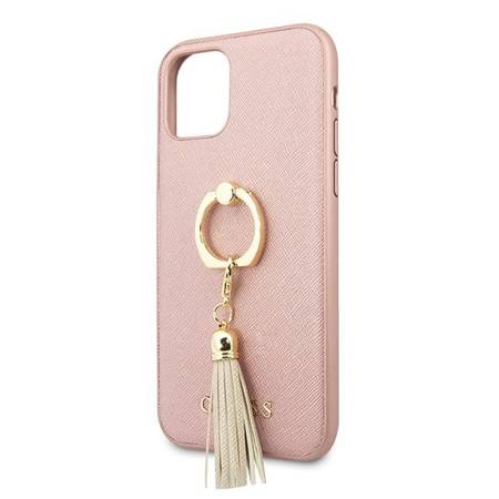 Guess GUHCN61RSSARG iPhone 11 różowy/pink hard case Saffiano with ring stand