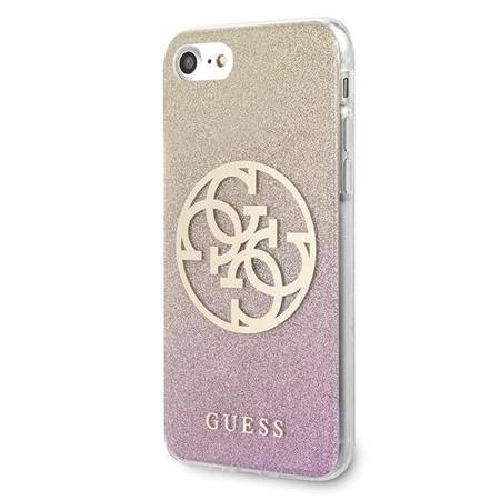 Guess Gradient Circle Glitter 4G - Etui iPhone SE 2020 / 8 / 7 (Gold/Pink)