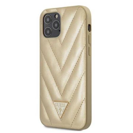 Guess V Quilted - Etui iPhone 12 / iPhone 12 Pro (złoty)
