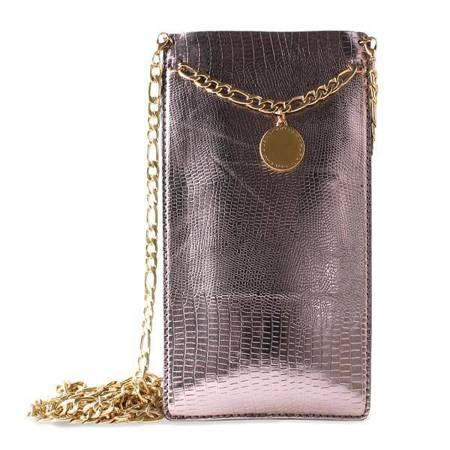 PURO GLAM Chain - Etui uniwersalne do smartfonów z 2 kieszeniami na karty w/gold chain XL (brązowy)