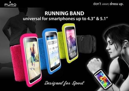 PURO Running Band - Uniwersalna frotka do biegania do smartfonów max 4.3 + key pocket (różowy)
