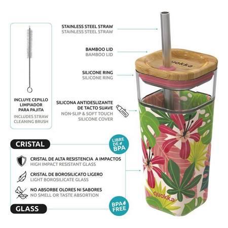 Quokka Liquid Cube -  Kubek szklany 540 ml ze słomką ze stali nierdzewnej (Pink Jungle)