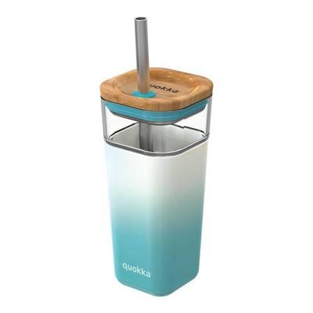 Quokka Liquid Cube -  Kubek szklany 540 ml ze słomką ze stali nierdzewnej (Teal Gradient)